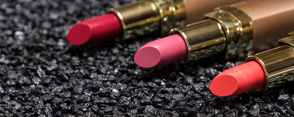 Lipsticks on anthracite surface