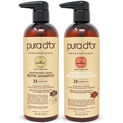 PURA D'OR Professional Grade Biotin Anti-Hair Thinning Shampoo & Conditioner